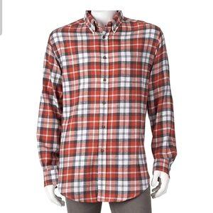 Orange flannel shirt